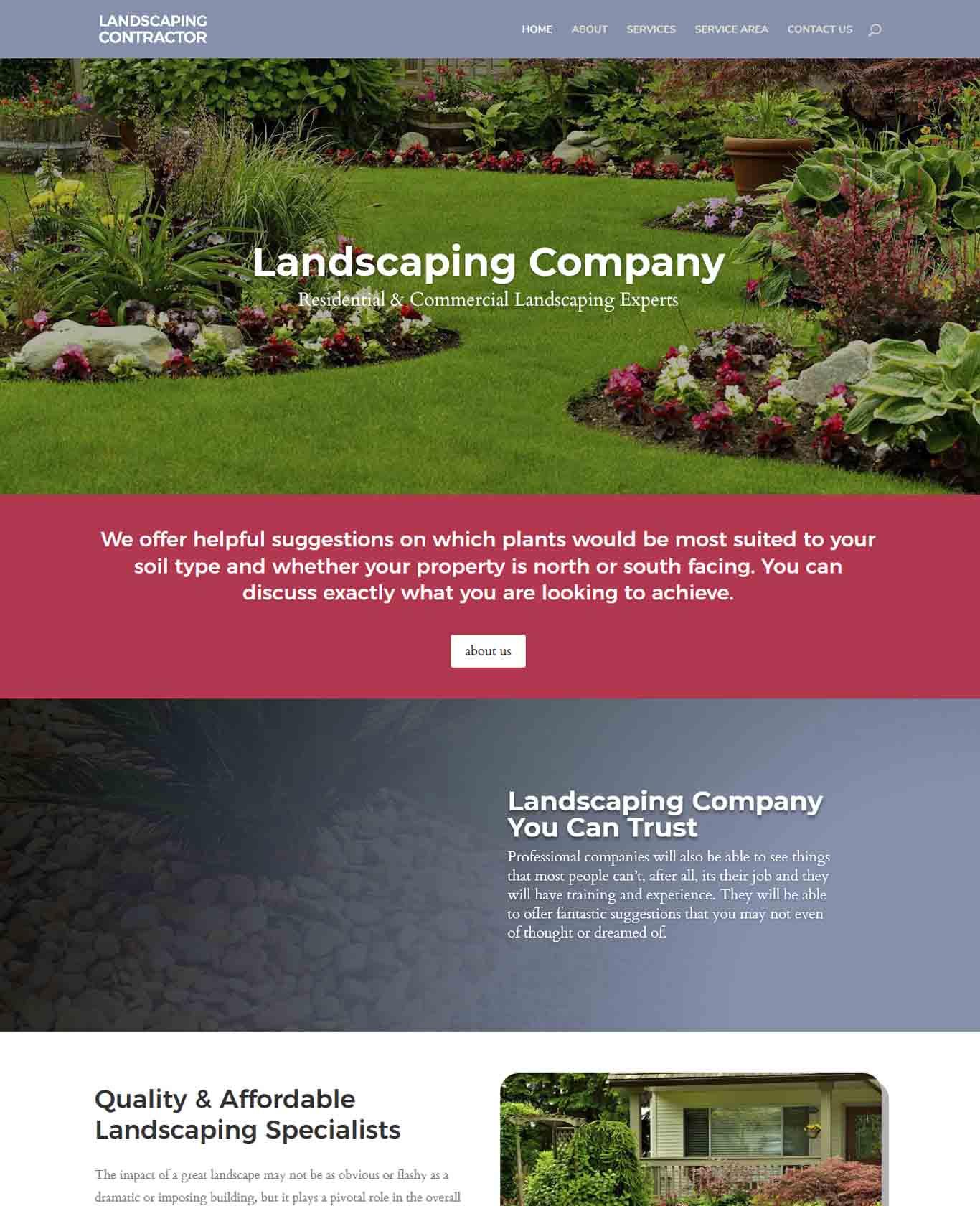 Excalibor Landscaping Websites Sample Design 4