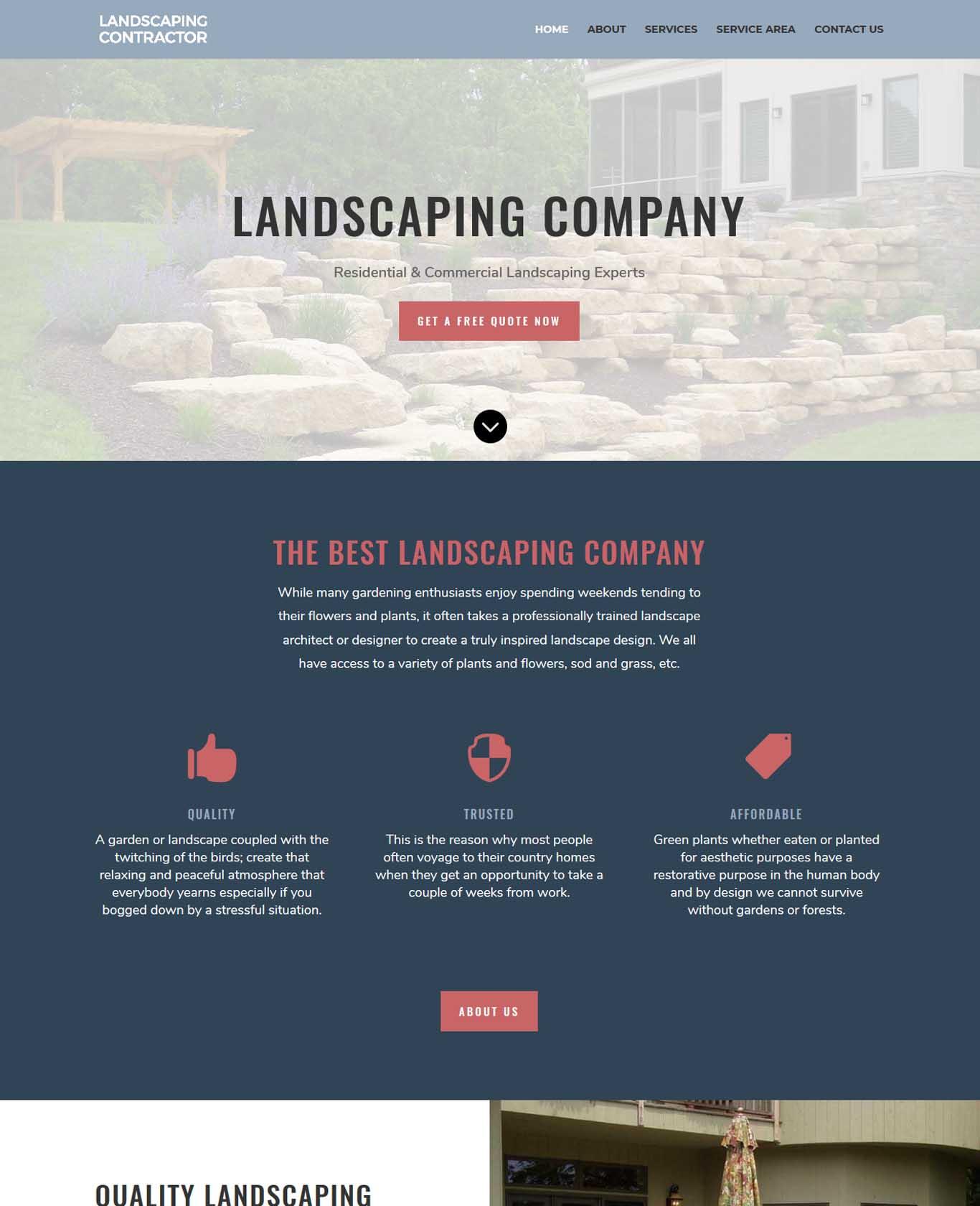 Landscaping Company Website Sample Design 2